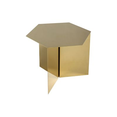 Slit Hexagon Side Table Brass