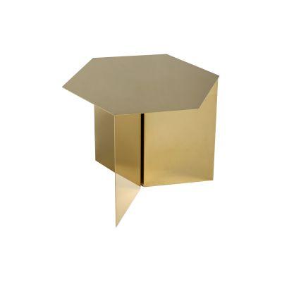 Slit Hexagon Side Table Brass