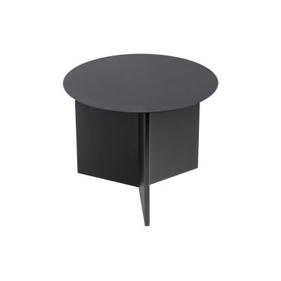 Slit Round Side Table Petrol grey, Ø45 cm