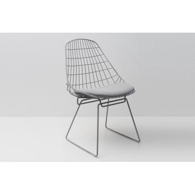 SM05 Dining Chair with Cushion, Haze Grey Frame Advantage Sea Blue AD017