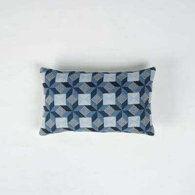 Small Stars Rectangular Cushion Blue