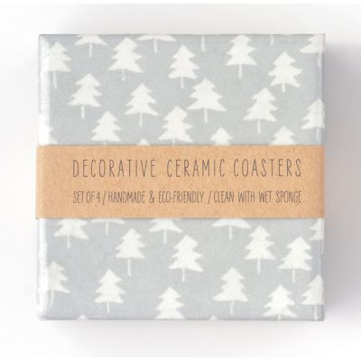 Small White Trees on Silver Ceramic Coasters