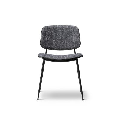 Soborg chair, steel frame, back and seat upholstered Oak smoked stained, Nubuck 501 Light sand, Black painted