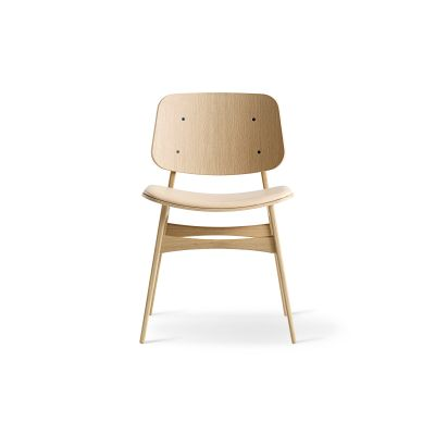 Soborg chair, wooden frame, seat upholstered Oak smoked stained, Leather 90 Nature