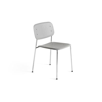 Soft Edge 10 Dining Chair with Metal Frame Dusty Green Stained Seat and Back, Chromed Frame