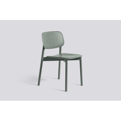 Soft Edge 12 Dining Chair with Wood Frame Dusty Green Stained Seat and Back, Dusty Green Stained Frame