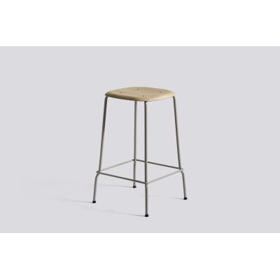 Soft Edge Bar Stool with Metal Frame and Footrest Matt Lacquered Seat, Soft Grey Base, High