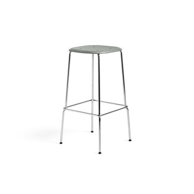 Soft Edge P30 Stool High, Dusty Green Seat, Chromed Steel Base