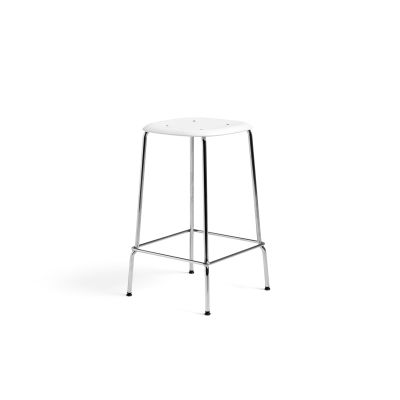 Soft Edge P30 Stool Low, White Seat, Chromed Steel Base