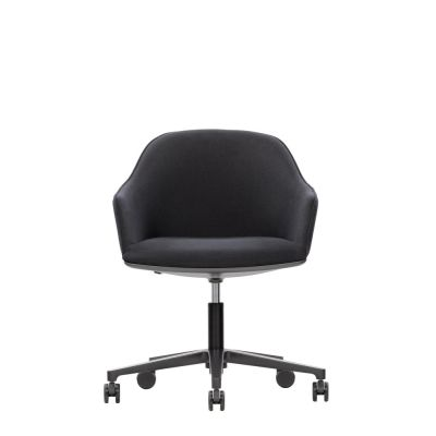 Softshell Chair Five Star Base Leather Premium 72 snow, polished aluminium, 02 castors hard braked for carpet