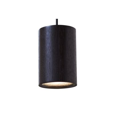 Solid Cylinder Pendant Light Black Stained Oak