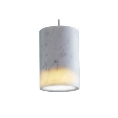Solid Cylinder Pendant Light  Carrara Marble