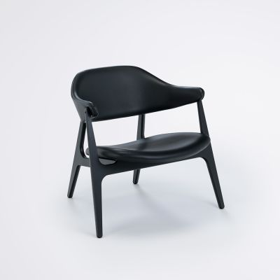 SPÄN Lounge Chair Camo Leather - Black 20, Black Frame