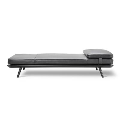 Spine Daybed Oak smoked stained, Without Cushion, Leather 90 Nature