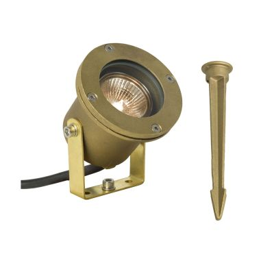 Spotlight for Submerged or Surface Use, Ground Spike, 7604 Weathered Brass