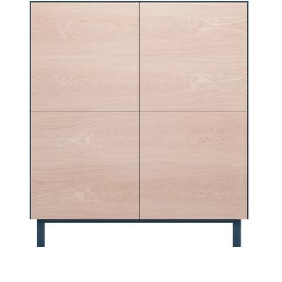 Square Cabinet 4 Doors Oak, Petrol Blue