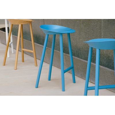 ST10 Jean Stool Silk Grey, Coloured Oak Veneer, High