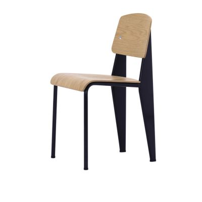 Standard Chair 10 natural oak with protective varnish, 04 glides for carpet, 12 Deep Black powder-coated