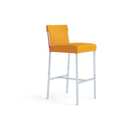 Steel Bar Stool B0211 - Leather Oil cirè, Chrome Steel Base