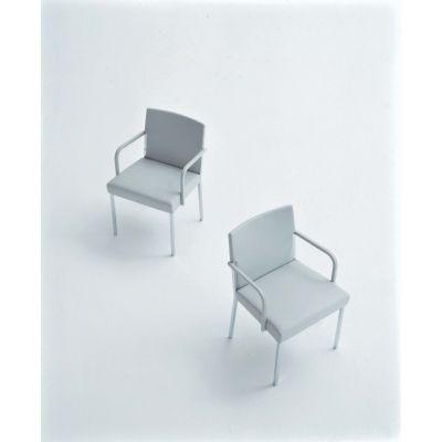 Steel Chair with Polyurethane Arms B0211 - Leather Oil cirè, Chrome Steel Base