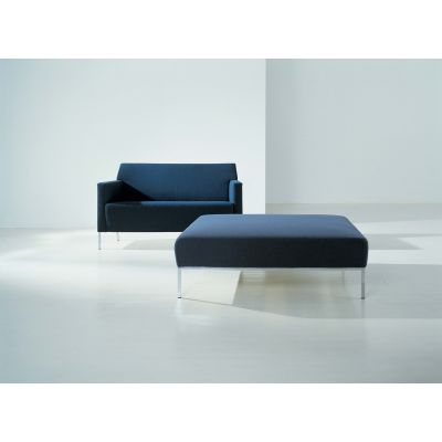 Steel Square Footstool B0211 - Leather Oil cirè, Chrome Steel Base