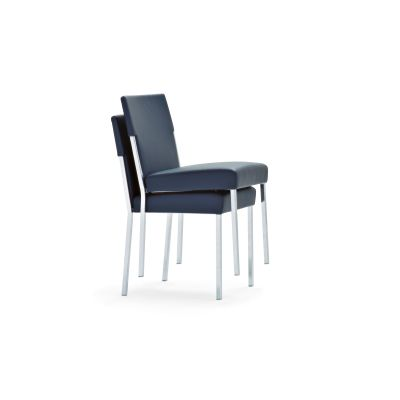 Steel Stackable Chair B0211 - Leather Oil cirè, Chrome Steel  Base