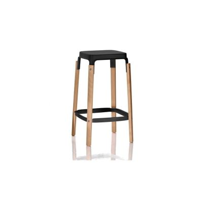 Steelwood Bar Stool Black Seat and Foot-rest, American Walnut Frame, 68cm