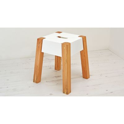 Storm Felled Beech Stool White