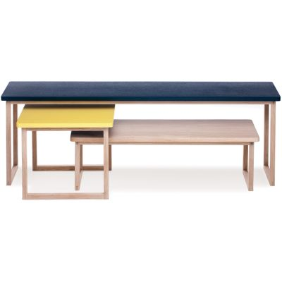 Strada set of 3 tables Petrol Blue/Yellow/Latte