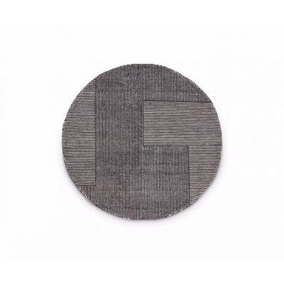 Stripe Rug Round Black and white