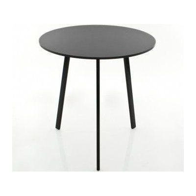 Striped Dining Table - Round Black Frame and Top, Ø70
