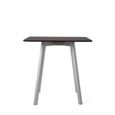Su Cafe Table Black Laminate, Anodized Aluminum, 80cm