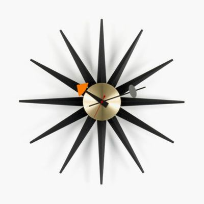 Sunburst Clock black/brass