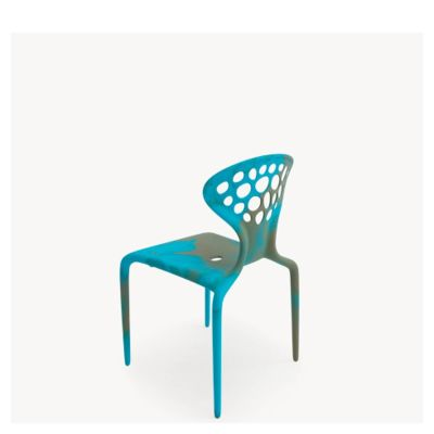 Supernatural Set of 4 Dining Chairs with Perforated Back Caramel/Turquoiuse