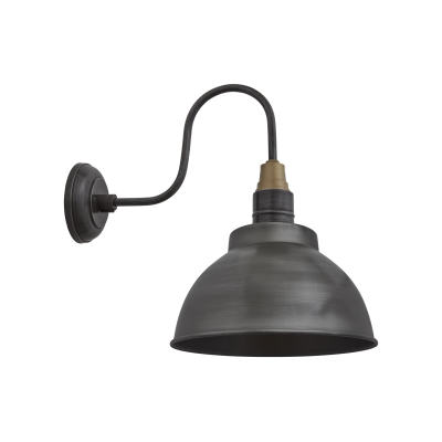 Swan Neck Dome Wall Light - 13 Inch Swan Neck Dome Wall Light - 13 Inch - Pewter