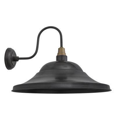 Swan Neck Giant Hat Wall Lights - 21 Inch Swan Neck Giant Hat Wall Light - 21 Inch - Pewter