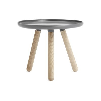 Tablo Round Coffee Table Grey Top, Natural Ash Legs, Small