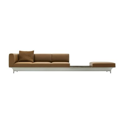 Teo 4 Seater Sofa with Table B0023 - Leather Rich, Papyrus Grey