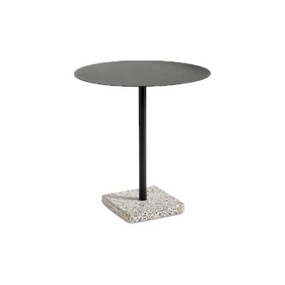 Terrazzo Round Outdoor Table Anthracite Top with Grey Base