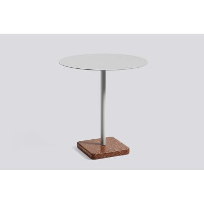 Terrazzo Round Outdoor Table Light Grey Top with Red Base