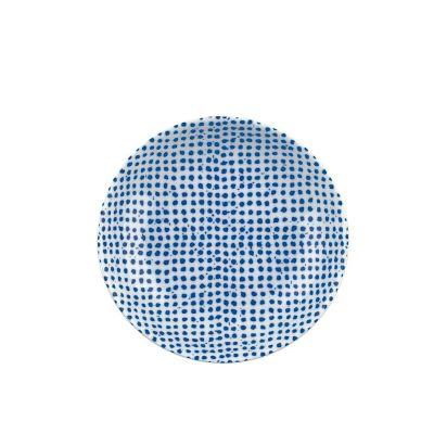 The White Snow Agadir - Round Serving Bowl 2 Blue Pattern