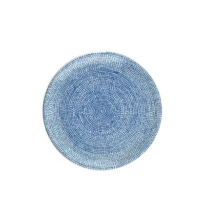 The White Snow Agadir - Round Serving Flat Plate Blue Pattern