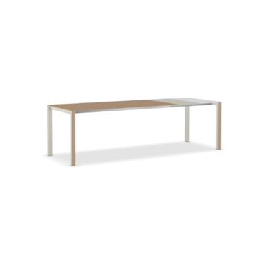 Thin-K Wood Extensible Table Aluminium Grey, 123-163-203 x 80, European Oak, Grey, Grey, Square