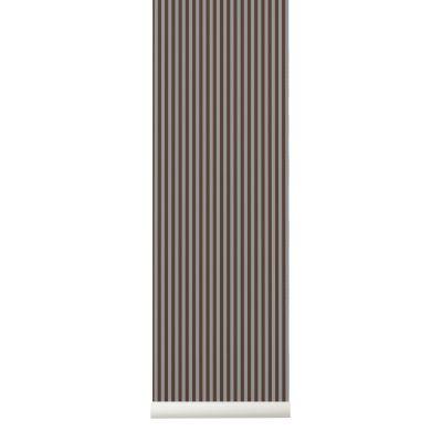 Thin Lines Wallpaper - Set of 2 Rolls Bordeaux/Grey
