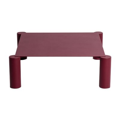 Thin Square Coffee Table Burgundy, RAL 3005