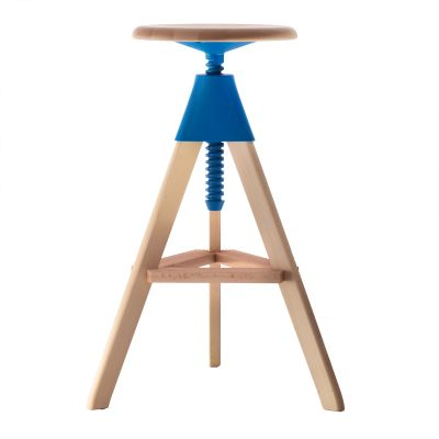 Tom Swivel Stool - The Wild Bunch Natural Seat and Frame, Matt Light Blue Joint and Screw