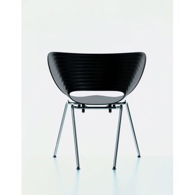 Tom Vac Chair 04 white, 05 felt glides for hard floor, chromed