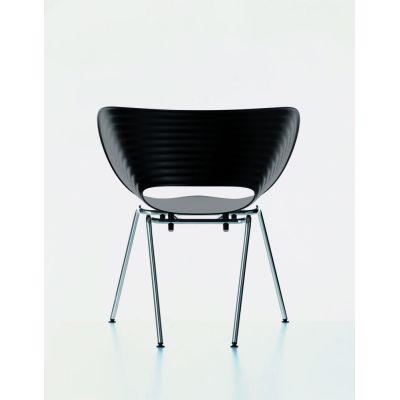 Tom Vac Chair 04 white, 05 felt glides for hard floor, chromed