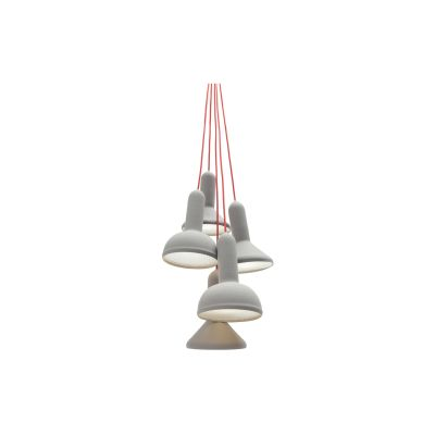 Torch Pendant Light, Bunch - S5 Signal Grey Shade with Red Cable