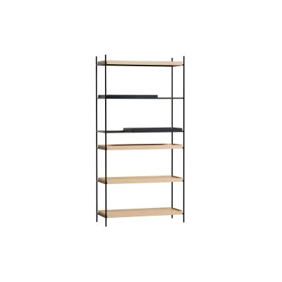 Tray High Shelving 2 Short Black Oak + 4 Wide Natural Oak Shelves